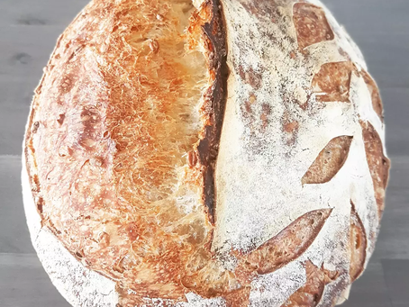 White Country Sourdough with whole wheat berries :)