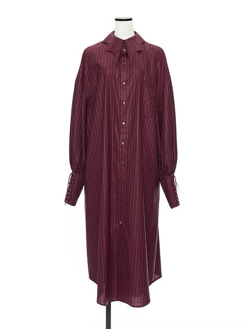 Bat collar shirt dress Burgundy strips