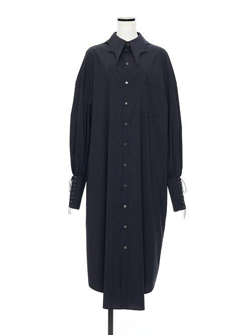 Bat collar shirt dress Navy