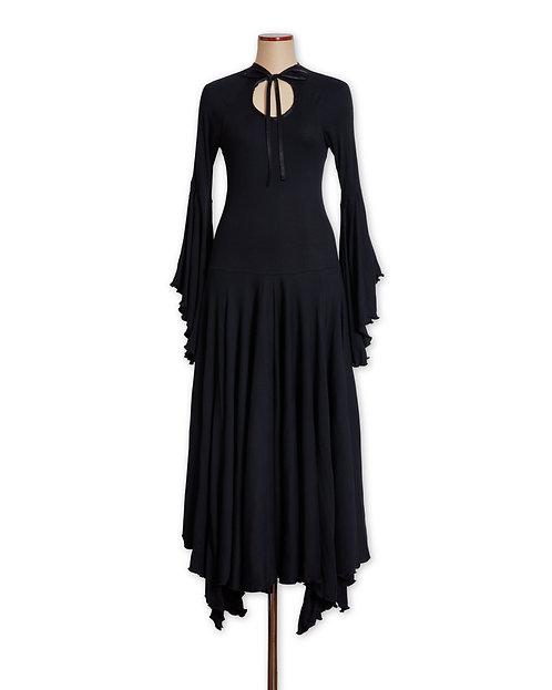 Back ribbon dress Black