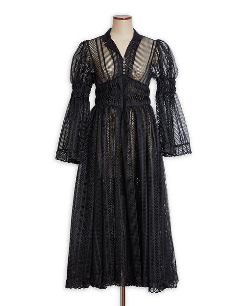 Lace curtain dress Black