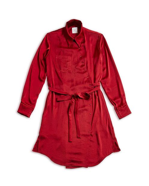 Vintage satin shirt onepiece Red