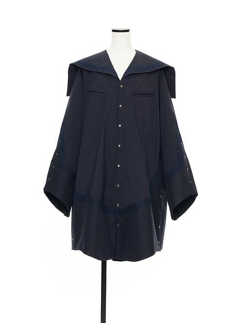 Sailor collar shirt jacket Navy strips