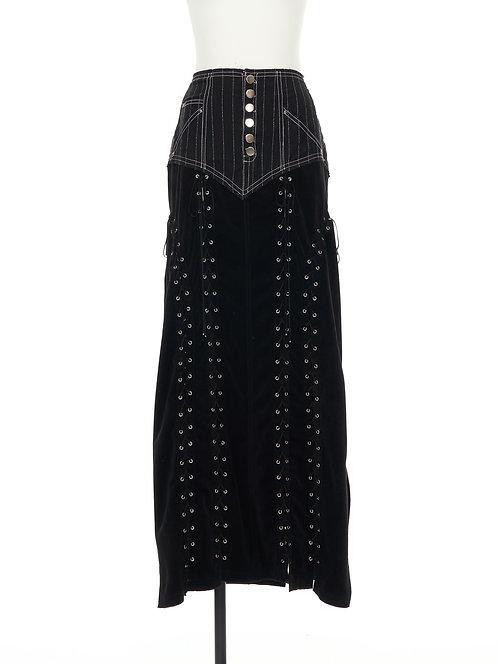 Lace up long skirt Black