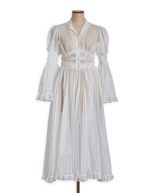 Lace curtain dress White