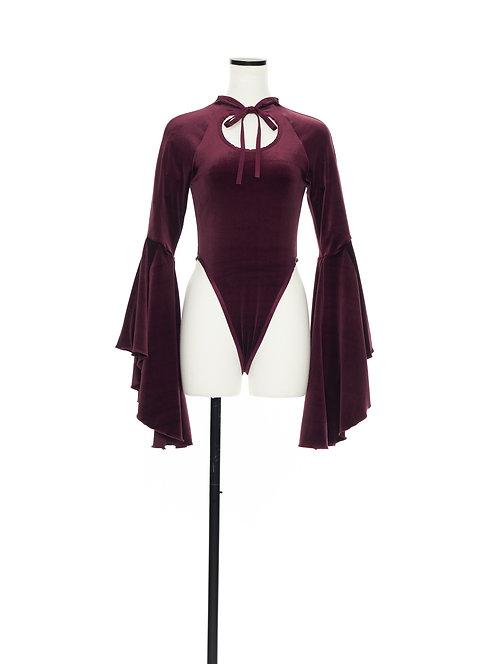 Velour bodysuit Burgundy