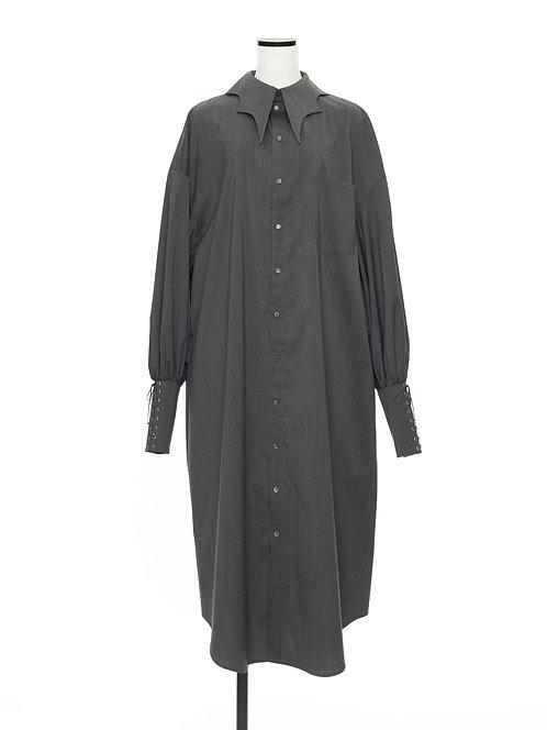 Bat collar shirt dress Gray