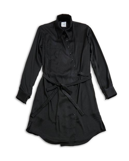 Vintage satin shirt onepiece Black
