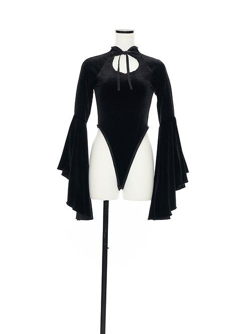 Velour bodysuit Black