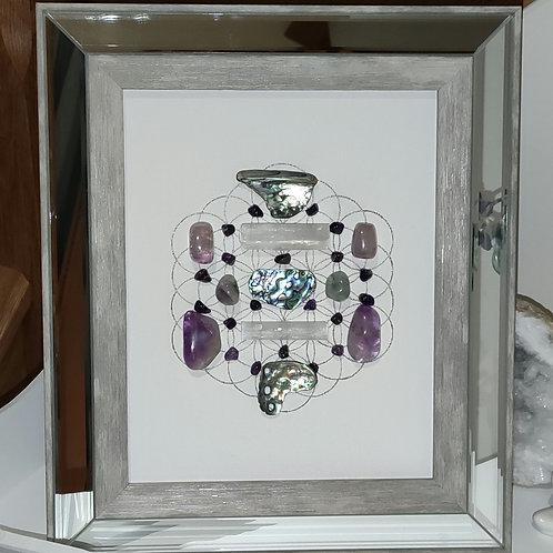 'Strength' framed crystal grid