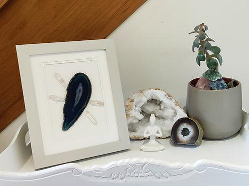 'Universal Healing' framed crystal grid (blue)