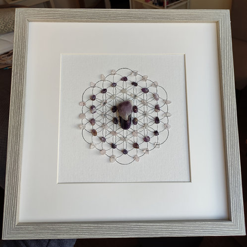 'Peace and Love' framed crystal grid
