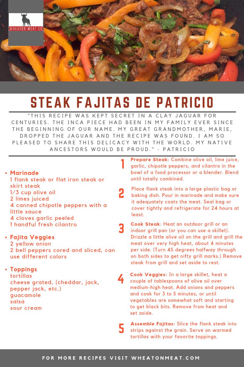 wmc recipe STEAK FAJITAS DE PATRICIO