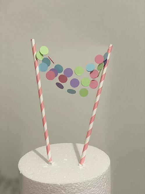 Pastel Confetti Banner Cake topper