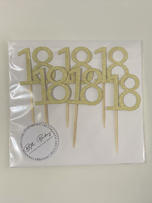 6 Personalised Age Cupcake toppers
