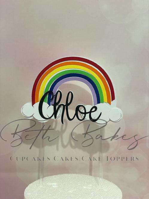 Personalised Rainbow Cake Topper