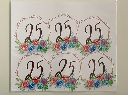 Personalised Geometric Floral Cupcake Toppers