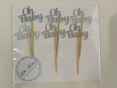 Ombre Oh Baby Cupcake Toppers
