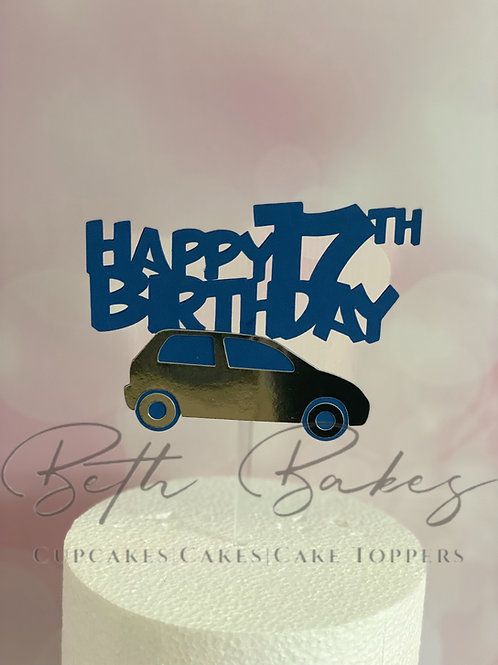 Happy 17th BirthdayCar Cake Topper