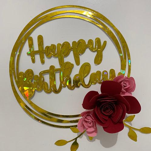 Happy Birthday circle cake topper