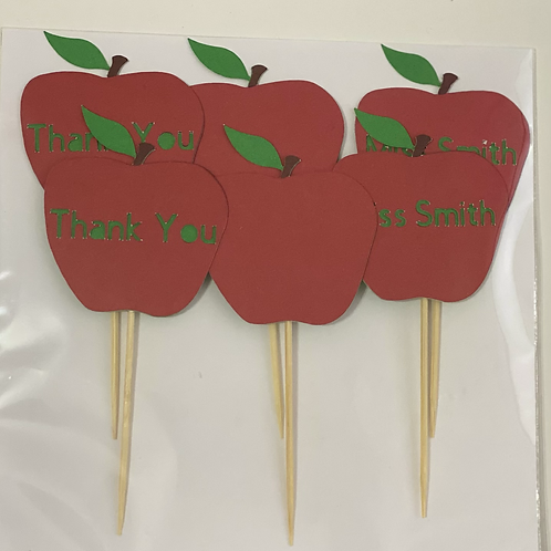 6 Apple for Teacher Cupcake Toppers