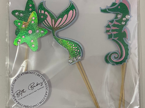 6 Mermaid Cupcake Toppers