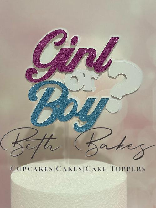 Glitter Girl or Boy Gender Reveal Baby Shower Cake Topper
