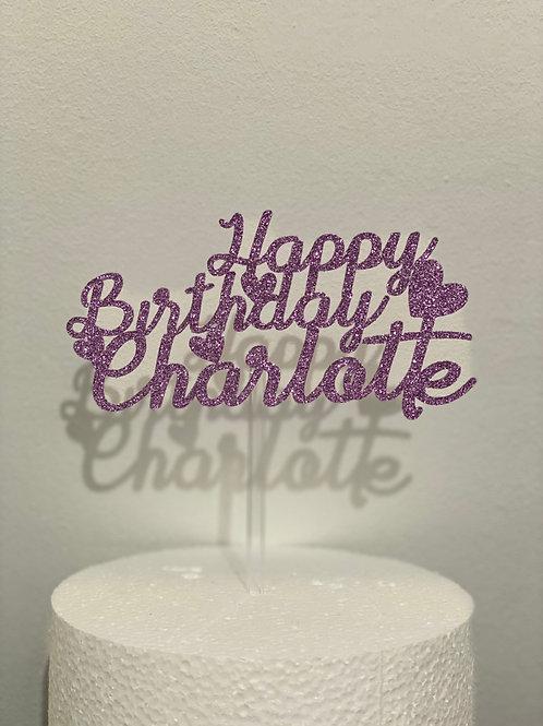 Personalised Happy Birthday Glitter Cake Topper