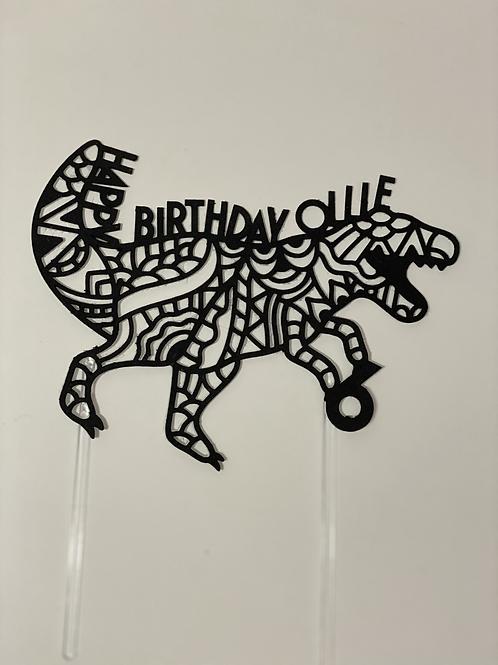 Personalised Mandala T-Rex cake topper