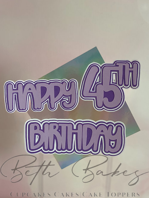 Personalised Holographic Offset Square Multi-Layered Happy Birthday Cake Topper