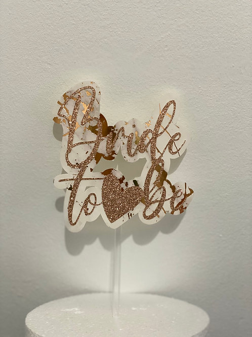 Marble Bride to Be Cake topper
