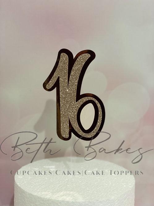 Rose Gold 16 Cake topper