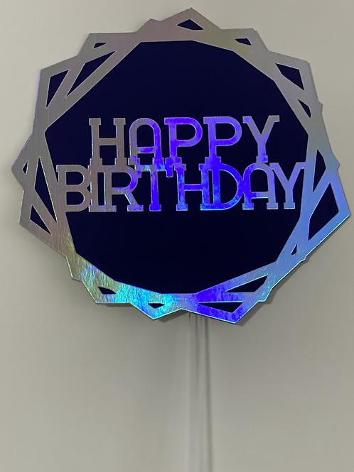 Holographic Hexagon Happy Birthday Cake Topper