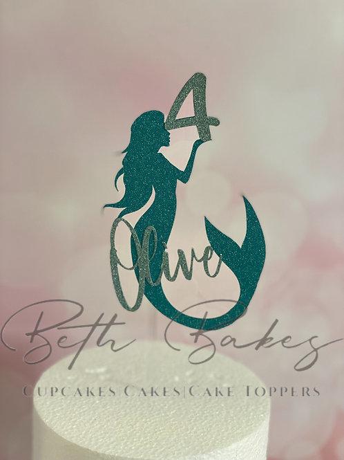 Personalised Mermaid Glitter Cake Topper