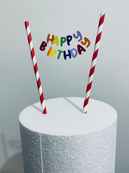 Happy Birthday Rainbow Banner Cake topper