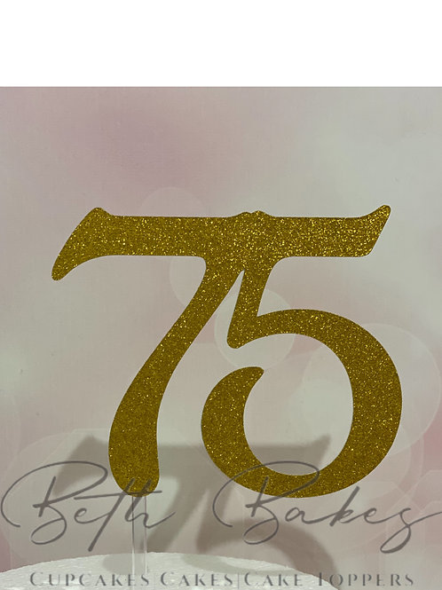 Large Single Colour Number Cake Topper