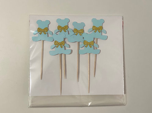 6 Teddy Bears and Bows Cupcake toppers