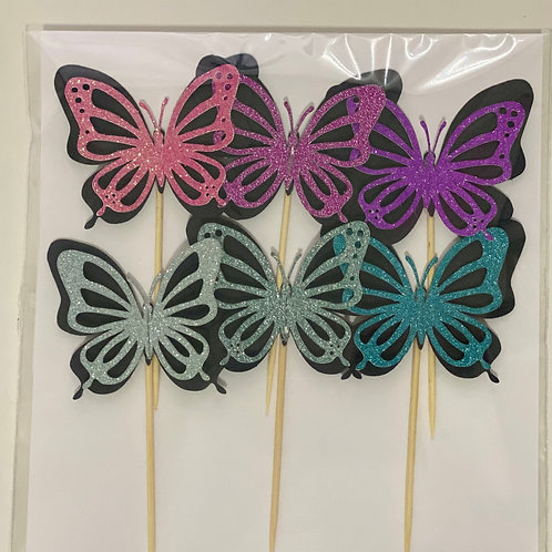 6 Glitter Butterfly Cupcake Toppers