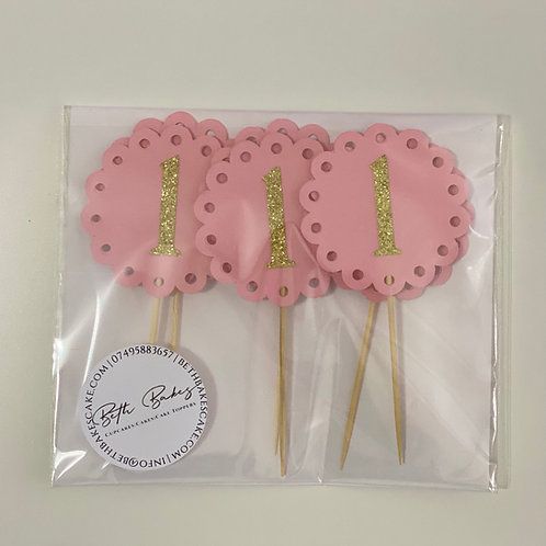 Pastel Round Age Cupcake Toppers