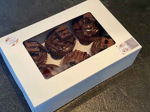 6 Chocolate Fudge Brownie Cupcakes
