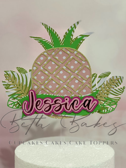Personalised Pineapple Tropical Cake Topper