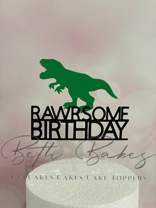 Rawrsome Birthday Cake Topper