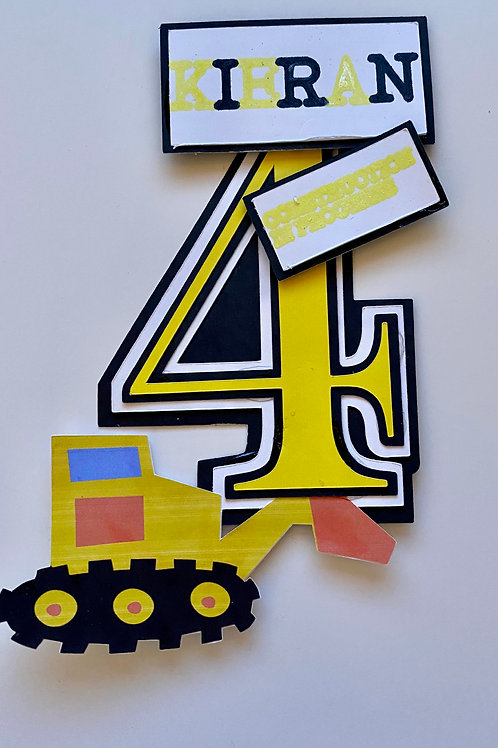 Personalised Digger Theme Cake Topper