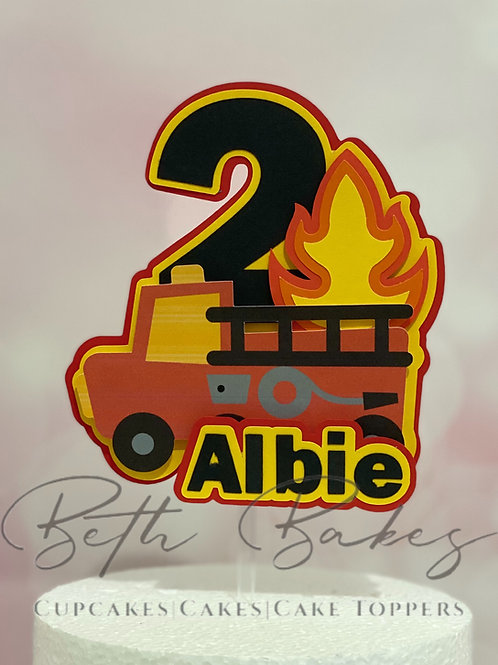 Personalised 3D Fire Engine Cake Topper