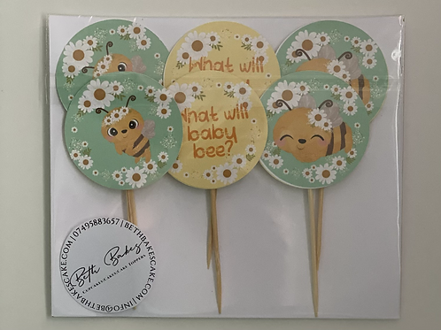 What Will Baby Bee Neutral Cupcake Toppers Gender Reveal Baby Shower