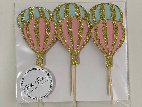 Gender Reveal Baby Shower Hot Air Balloon Cupcake Toppers