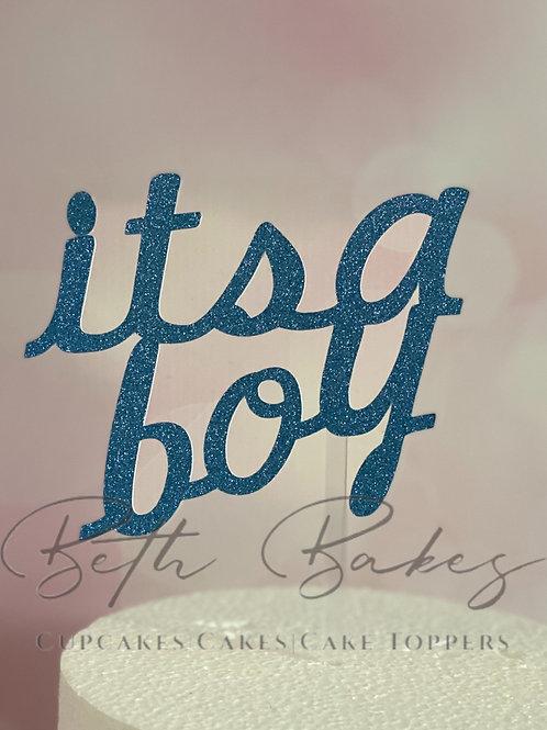 It's a boy glitter cake topper