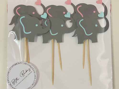 Gender Reveal Baby Shower Elephant Cupcake Toppers