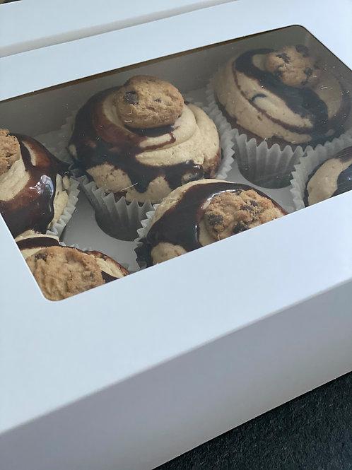 6 Cookie Dough Cupcakes
