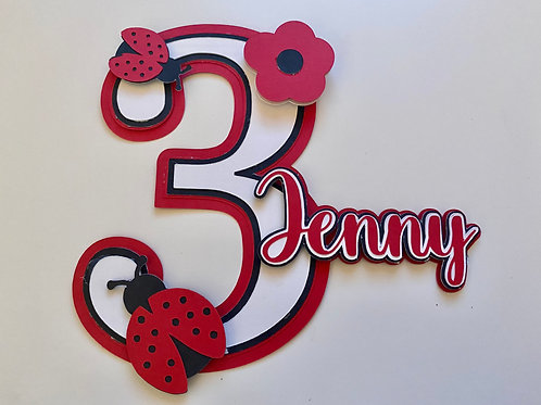 Personalised Lady Bird Cake Topper